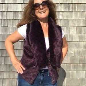Steve Madden deep purple faux fur vest